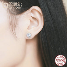 925 Sterling Silver Double Heart Love Stud Earrings for Women Clear CZ Silver Earrings Jewelry Brincos SCE059