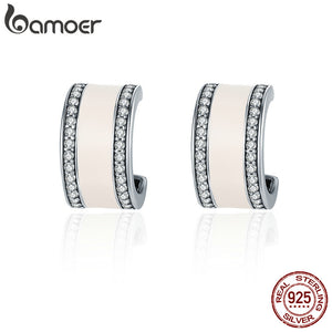 925 Sterling Silver Pink Radiant AAA Cubic Zircon Stud Earrings for Women Fashion Earrings Jewelry Gift