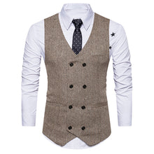Men Formal Tweed Check Double Breasted Waistcoat Retro Slim Fit Suit Jacket