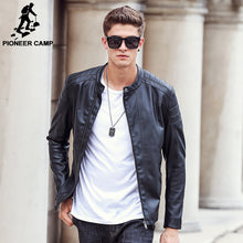 Pioneer Camp motorcycle jacket quality male leather coat men