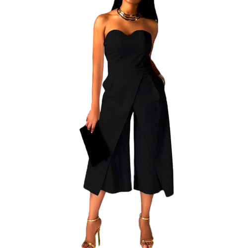 Women Summer Sexy Sleeveless Off Shoulder Strapless Jumpsuit  Wide Leg Long Romper Playsuits