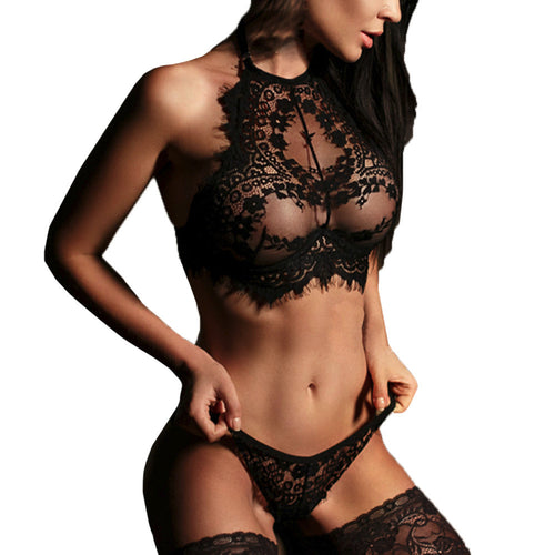 Women Sexy Lingerie Lace Flowers Push Up Top Bra Pants Underwear Set