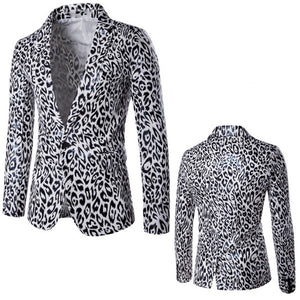 Men One Button Suit Coat Slim Fit Leopard Printed Male Party Stage Wear Performance Costume