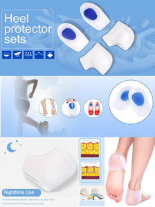 Gel Heel Cups Inserts and Compression Heel Sleeves Socks, Foot Ankle Pain Relief