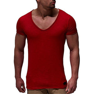Summer Comfortable Men's T Shirts Sexy V Neck Slim Fit Male Muscle Shirts