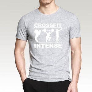Crossfit Intense Men T Shirt Short Sleeve T-Shirt 100% Cotton High Quality Muscle Fit Top Bodybuilding Tshirt