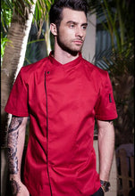 solid cotton short-sleeved chef jacket uniform jackets 4 color