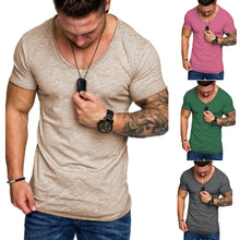 Men Short Sleeve O Neck T-Shirts Summer Mens Tees Muscle Solid color slim TShirts