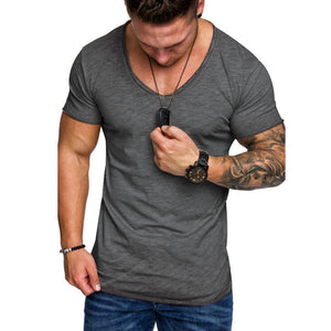 Men Short Sleeve O Neck T-Shirts Tops Summer Mens Tops Tees Muscle Solid Clor Casual Slim TShirts Plus Size M-3XL