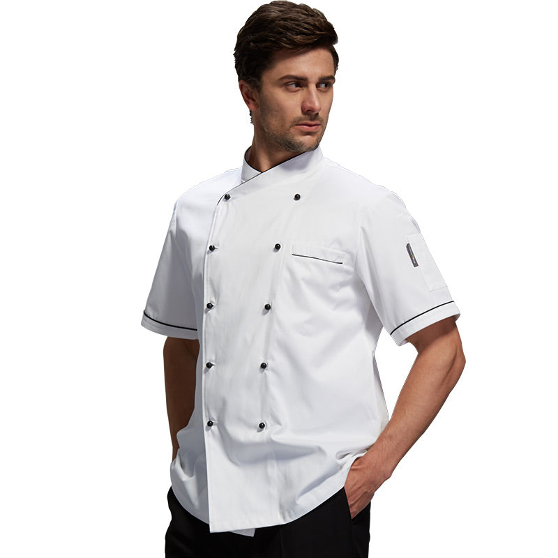 Chef's Short-sleeved Breathable Outfit Wear Clothes Men and Women Chef Jacket Uniform