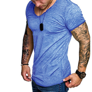 Casual Men Tee Tops Crew Neck Short Sleeve Loose Fitness Muscle Tee Joggers TShirts Masculina Summer