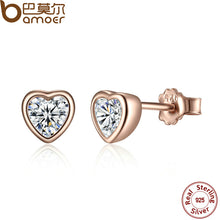 BAMOER 925 Sterling Silver One Love Stud Earrings with Clear CZ Female Brincos  PAS452
