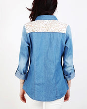 White Lace Detail Blue Denim Shirt