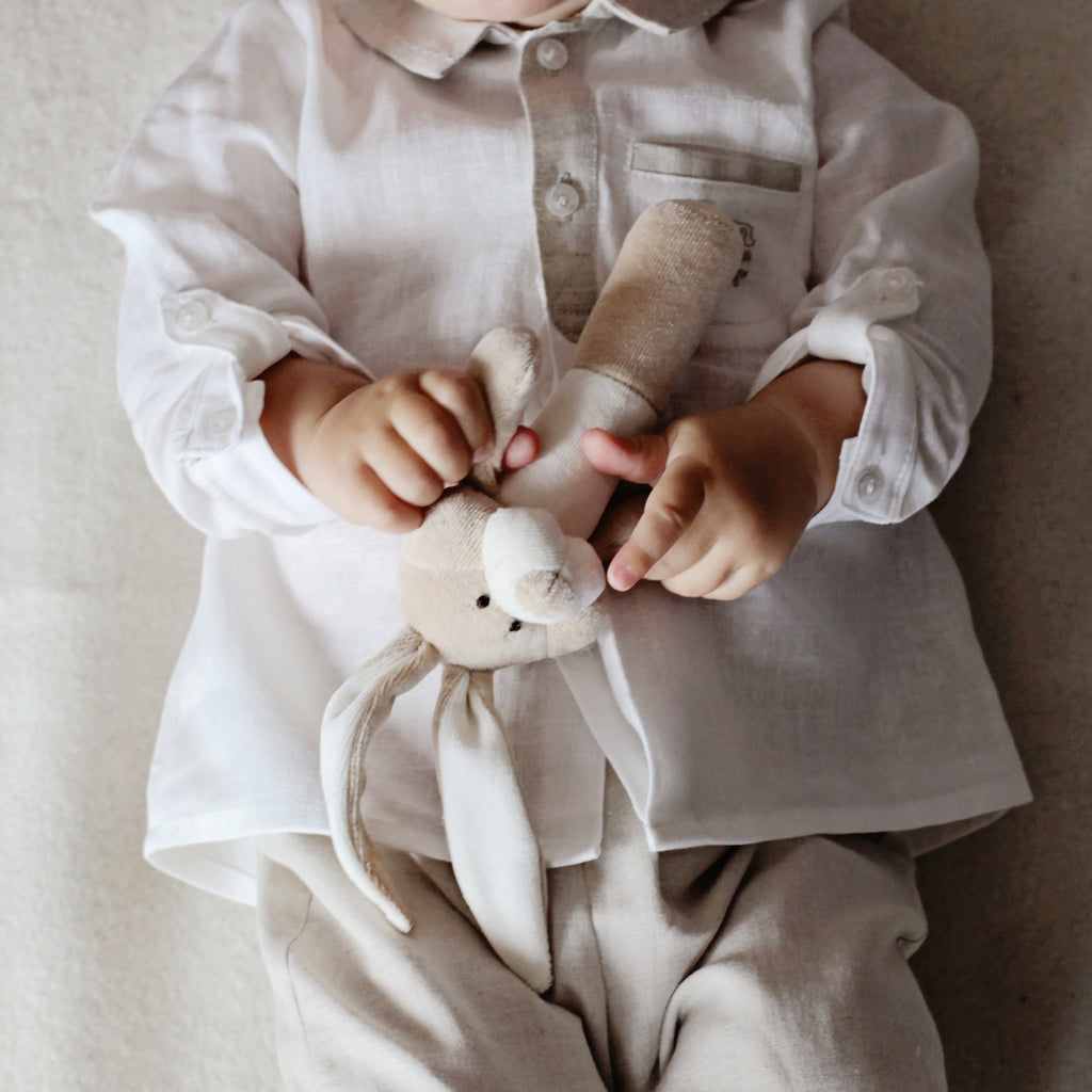 Organic soft toy rattle BUNNY