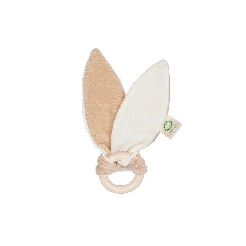 Organic bunny ears with teething ring