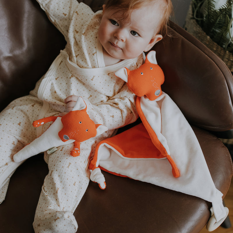 Organic soft toy rattle FOX