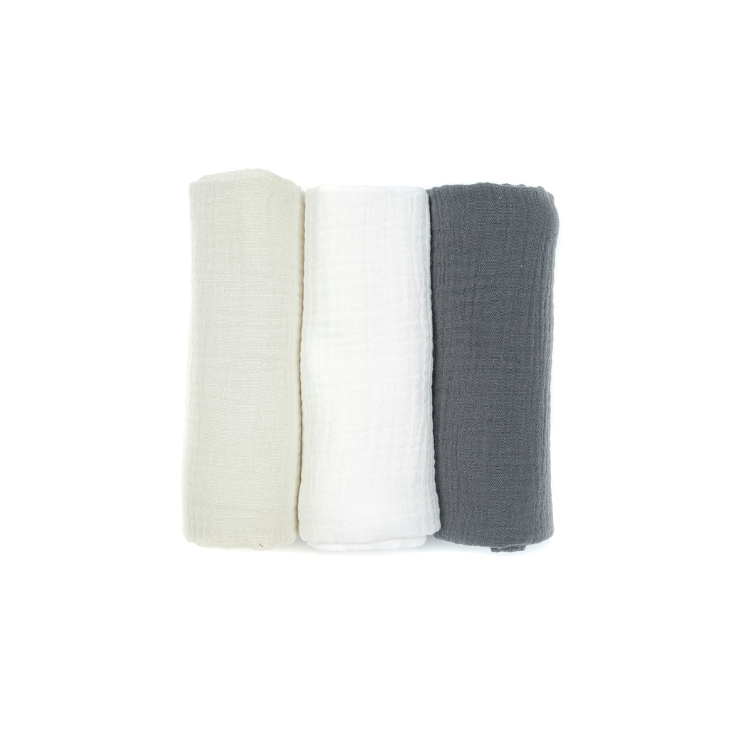 Muslin cloths 3-pack CHARCOAL