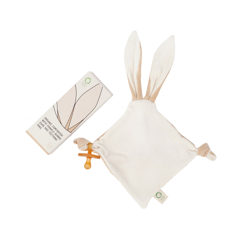 Organic comforter with bunny ears and teething ring