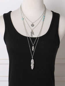 Feather Pendant Layered Chain Necklace - Texas Country Gifts