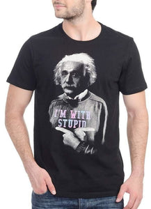 Einstein I'm With Stupid Black - Printed T-Shirt - Texas Country Gifts