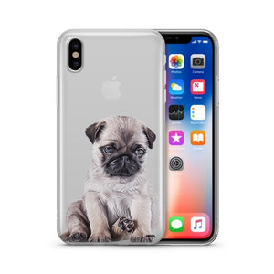 Baby Pug - Clear TPU Cell Phone Case for iPhone and Samsung - Texas Country Gifts