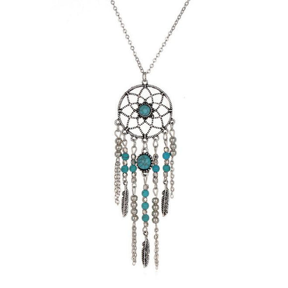 Women's Retro Turquoise Dream Catcher Pendant Chain Necklace - Texas Country Gifts