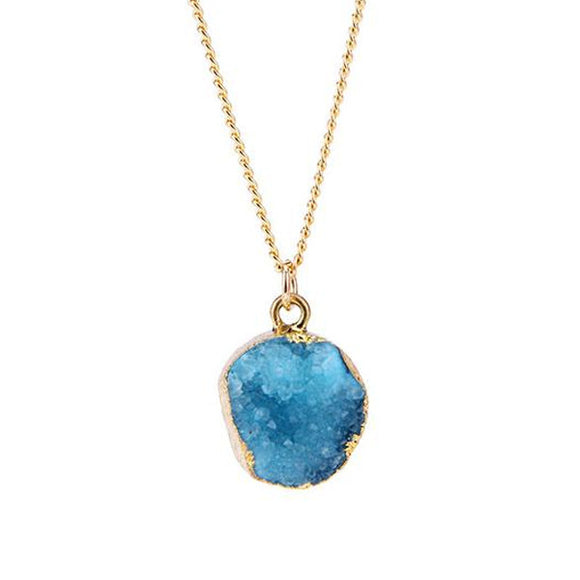 Blue Druzy Stone Necklace - Texas Country Gifts