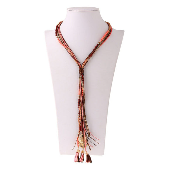Multi-layer Colorful Handmade Rope and Bead Long Tassel Sweater Necklace - Texas Country Gifts