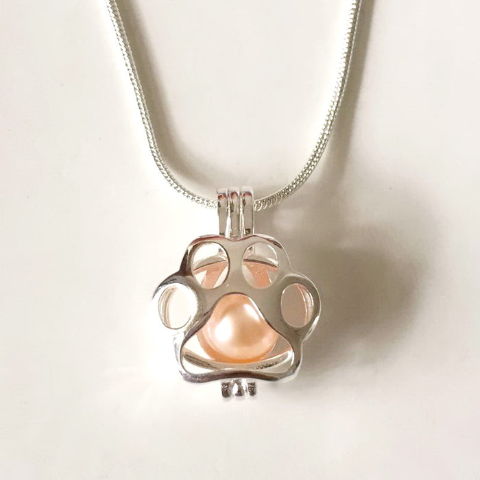 Paw print pearl pendant mounting 925 sterling silver locket cage paw print pearl pendant mounting 925 sterling silver locket cage pendant can open diy aloadofball Image collections