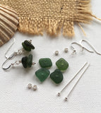Green Sea Glass Stacker Earrings - DIY Kit available - sterling silver