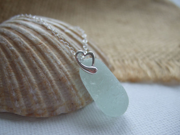 heart design sea glass stopper stem pendant