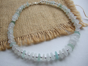 sea glass statement necklace white and sea foam