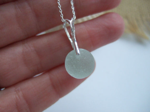sea glass marble in sterling silver