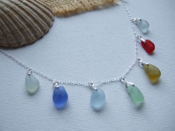 rainbow sea glass necklace