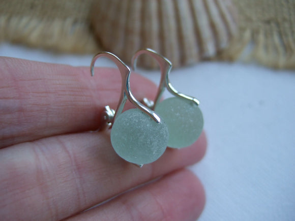 petite lever back sea glass marble earrings