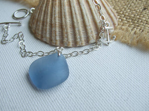 light blue sea glass bracelet with anchor charm