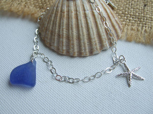 blue scottish sea glass bracelet with starfish charm