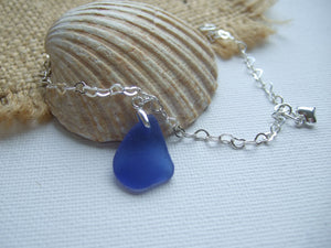heart chain with blue sea glass bracelet
