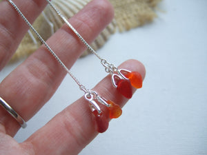 red amberina sea glass threader earrings