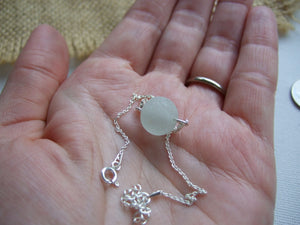 "Sea Glass Marble Bracelet 6"" plus 2"" extender chain Sterling Silver"