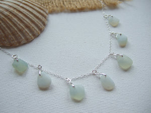 opalescent sea glass necklace