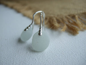 white elegant sea glass earrings