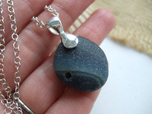 seaham slag sea glass blue galaxy necklace
