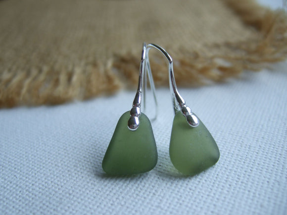 green beach glass earrings scotland gift