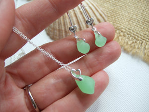 sea glass jewellery set with uv beach glass