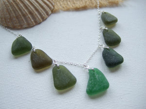 "green sea glass necklace 18"" sterling silver scottish"
