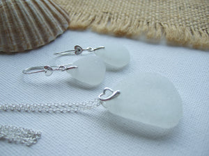 romantic hearts white sea glass necklace and earrings