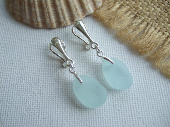 sea glass earrings clip ons