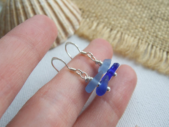 blue sea glass stacked earrings