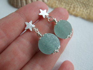 star stud earrings with sea glass marbles